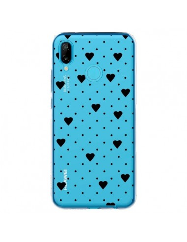 Coque Huawei P20 Lite Point Coeur Noir Pin Point Heart Transparente - Project M