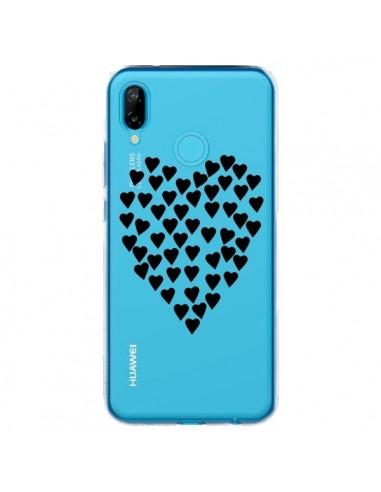 Coque Huawei P20 Lite Coeurs Heart Love Noir Transparente - Project M