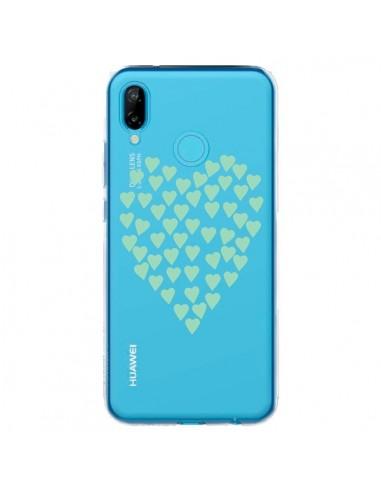 Coque Huawei P20 Lite Coeurs Heart Love Mint Bleu Vert Transparente - Project M