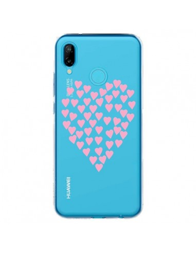 Coque Huawei P20 Lite Coeurs Heart Love Rose Pink Transparente - Project M