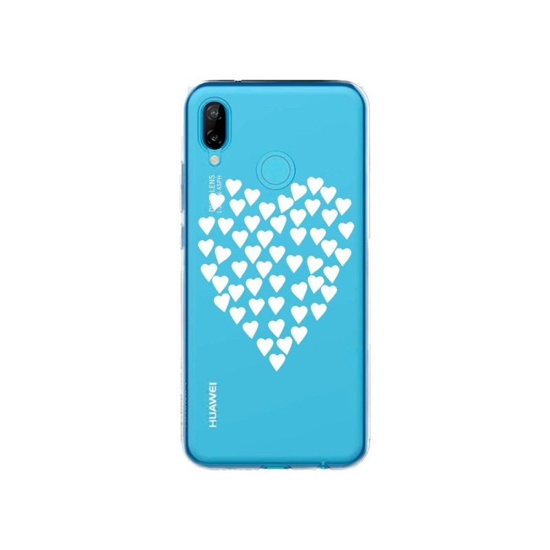 Coque Huawei P20 Lite Coeurs Heart Love Blanc Transparente - Project M