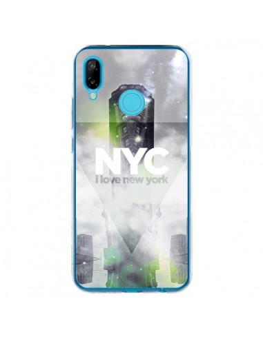 Coque Huawei P20 Lite I Love New York City Gris Vert - Javier Martinez