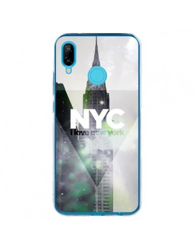 Coque Huawei P20 Lite I Love New York City Gris Violet Vert - Javier Martinez