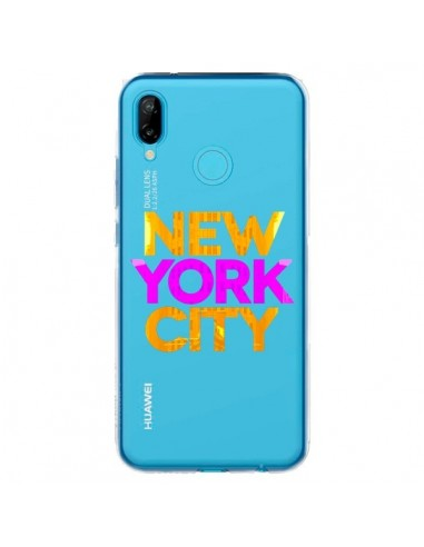Coque Huawei P20 Lite New York City NYC Orange Rose Transparente - Javier Martinez