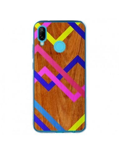 Coque Huawei P20 Lite Pink Yellow Wooden Bois Azteque Aztec Tribal - Jenny Mhairi