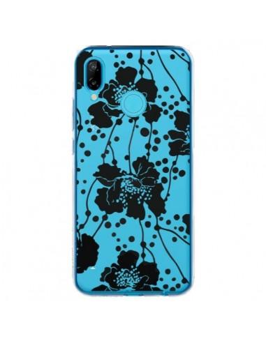 Coque Huawei P20 Lite Fleurs Noirs Flower Transparente - Dricia Do