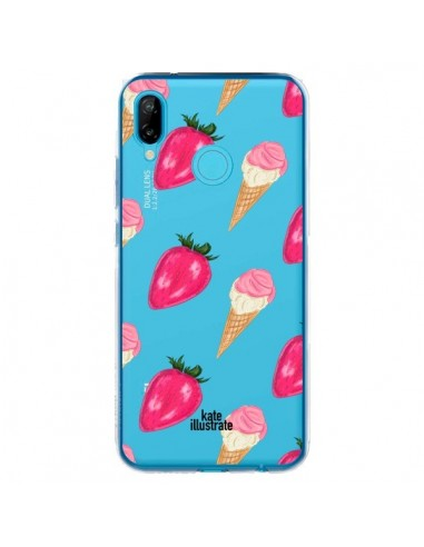 Coque Huawei P20 Lite Strawberry Ice Cream Fraise Glace Transparente - kateillustrate