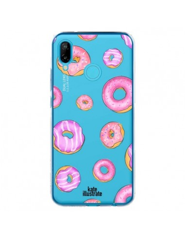 Coque Huawei P20 Lite Pink Donuts Rose Transparente - kateillustrate