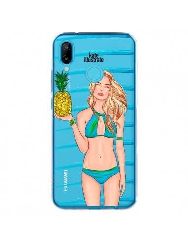 Coque Huawei P20 Lite Malibu Ananas Plage Ete Bleu Transparente - kateillustrate