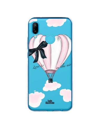 Coque Huawei P20 Lite Love is in the Air Love Montgolfier Transparente - kateillustrate