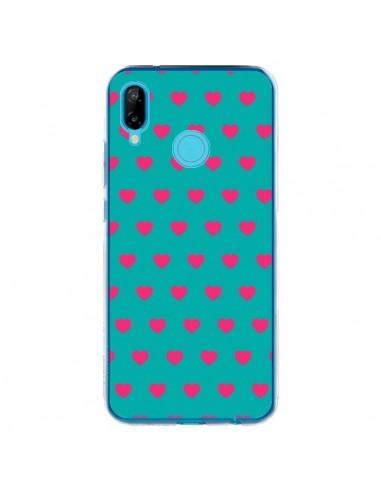 Coque Huawei P20 Lite Coeurs Roses Fond Bleu - Laetitia