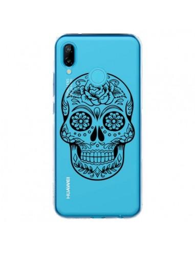 Coque Huawei P20 Lite Tête de Mort Mexicaine Noir Transparente - Laetitia