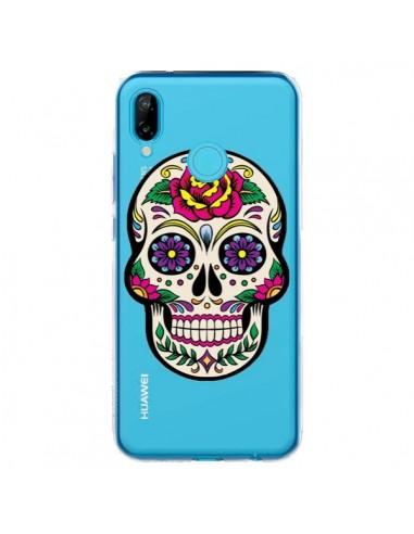Coque Huawei P20 Lite Tête de Mort Mexicaine Fleurs Transparente - Laetitia