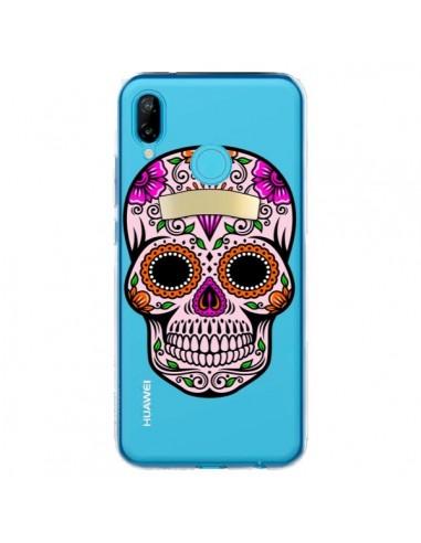 Coque Huawei P20 Lite Tête de Mort Mexicaine Noir Rose Transparente - Laetitia