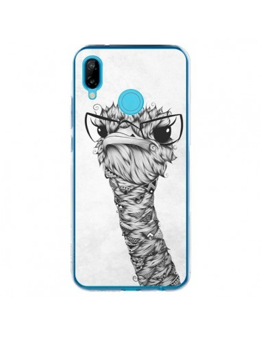Coque Huawei P20 Lite Ostrich Autruche Noir et Blanc - LouJah