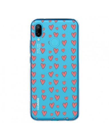 Coque Huawei P20 Lite Coeurs Heart Love Amour Rouge Transparente - Petit Griffin