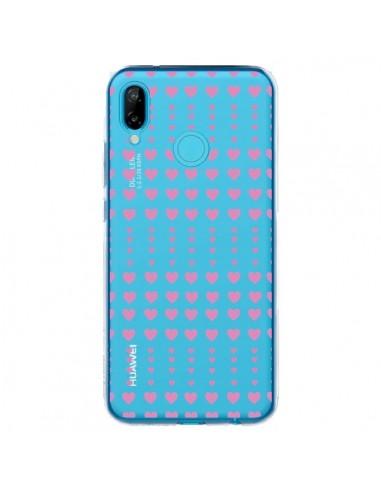 Coque Huawei P20 Lite Coeurs Heart Love Amour Rose Transparente - Petit Griffin