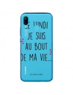 Coque Huawei P20 Lite Le lundi, je suis au bout de ma vie Transparente - Les Vilaines Filles