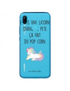 Coque Huawei P20 Lite Je suis une licorne, quand je pète ça fait du pop corn Transparente - Les Vilaines Filles