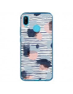Coque Huawei P20 Lite Watercolor Stains Stripes Navy - Ninola Design