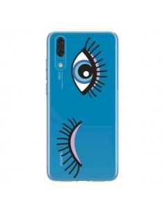 Coque Huawei P20 Eyes Oeil Yeux Bleus Transparente - Léa Clément