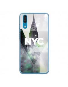 Coque Huawei P20 I Love New York City Gris Violet Vert - Javier Martinez