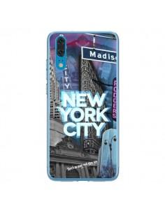 Coque Huawei P20 New York City Buildings Bleu - Javier Martinez