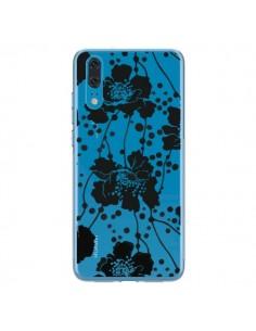 Coque Huawei P20 Fleurs Noirs Flower Transparente - Dricia Do