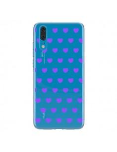 Coque Huawei P20 Coeur Heart Love Amour Violet Transparente - Laetitia