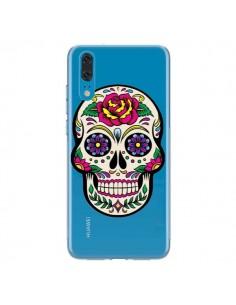 Coque Huawei P20 Tête de Mort Mexicaine Fleurs Transparente - Laetitia