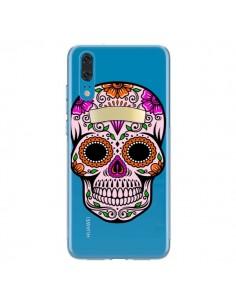 Coque Huawei P20 Tête de Mort Mexicaine Noir Rose Transparente - Laetitia