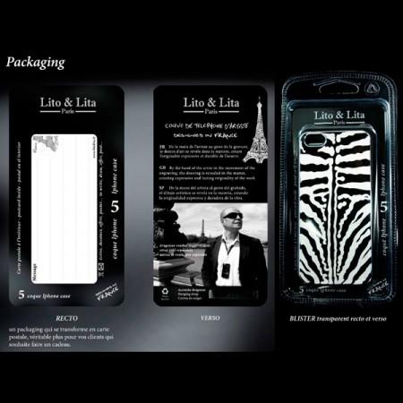 Coque Girafe en Miroir Noir Gravure Dorée pour iPhone 5 et 5S - Lito Lita