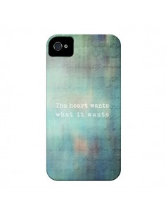 Coque The heart wants what it wants Coeur pour iPhone 4 et 4S - Sylvia Cook