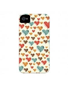 Coque Coeurs ColorŽs pour iPhone 4 et 4S - Eleaxart
