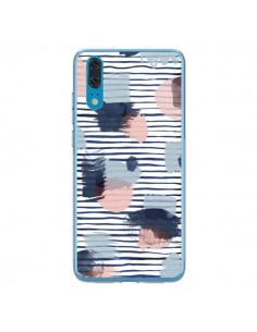 Coque Huawei P20 Watercolor Stains Stripes Navy - Ninola Design