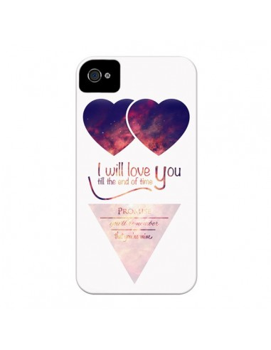 Coque I will love you until the end Coeurs pour iPhone 4 et 4S - Eleaxart