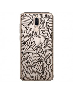 Coque Huawei Mate 10 Lite Lignes Grilles Triangles Full Grid Abstract Noir Transparente - Project M