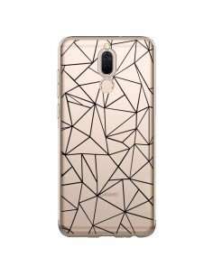 Coque Huawei Mate 10 Lite Lignes Triangles Grid Abstract Noir Transparente - Project M