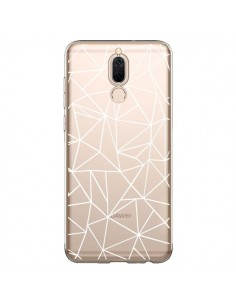 Coque Huawei Mate 10 Lite Lignes Triangles Grid Abstract Blanc Transparente - Project M