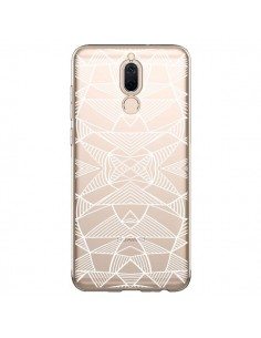 Coque Huawei Mate 10 Lite Lignes Miroir Grilles Triangles Grid Abstract Blanc Transparente - Project M