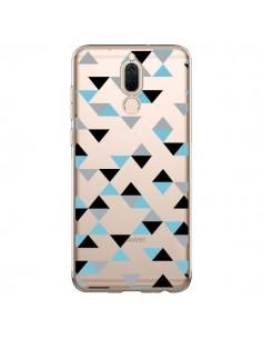 Coque Huawei Mate 10 Lite Triangles Ice Blue Bleu Noir Transparente - Project M