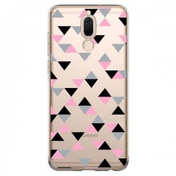 Coque Huawei Mate 10 Lite Triangles Pink Rose Noir Transparente - Project M
