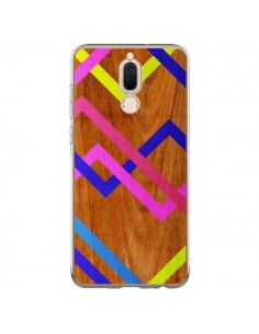 Coque Huawei Mate 10 Lite Pink Yellow Wooden Bois Azteque Aztec Tribal - Jenny Mhairi