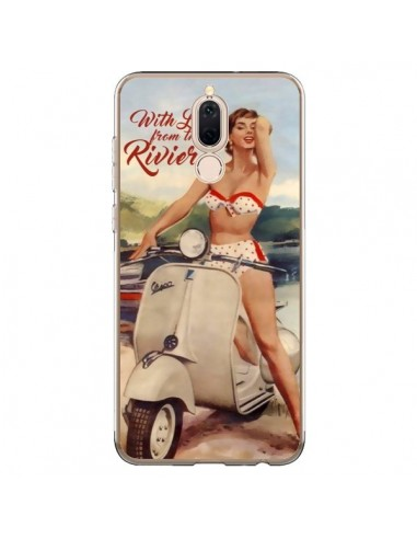 Coque Huawei Mate 10 Lite Pin Up With Love From the Riviera Vespa Vintage - Nico