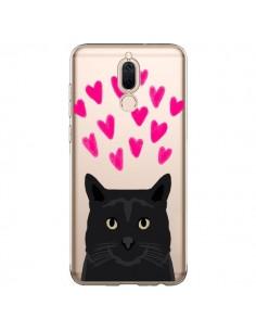 Coque Huawei Mate 10 Lite Chat Noir Coeurs Transparente - Pet Friendly