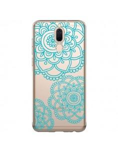 Coque Huawei Mate 10 Lite Mandala Bleu Aqua Doodle Flower Transparente - Sylvia Cook
