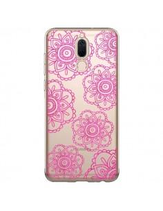 Coque Huawei Mate 10 Lite Pink Doodle Flower Mandala Rose Fleur Transparente - Sylvia Cook
