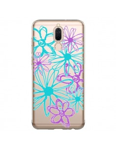 Coque Huawei Mate 10 Lite Turquoise and Purple Flowers Fleurs Violettes Transparente - Sylvia Cook