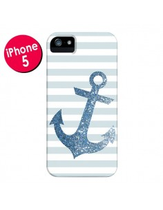 Coque Ancre Bleu Navire pour iPhone 5 et 5S - Monica Martinez