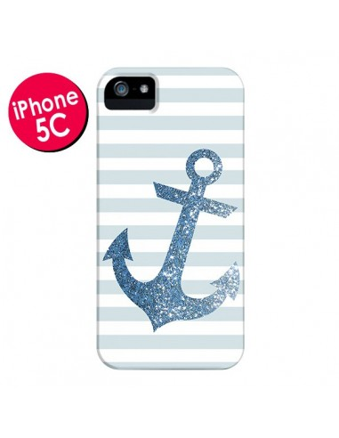 Coque Ancre Bleu Navire pour iPhone 5C - Monica Martinez